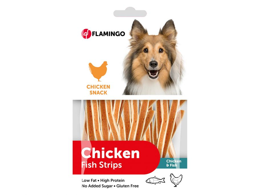 Flamingo Chicken Fish Strips hondensnack