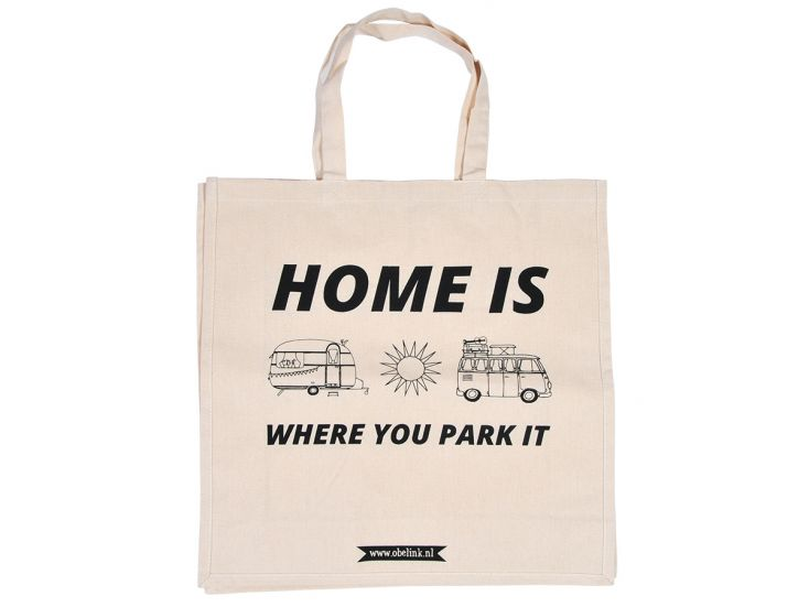 Obelink Home is where you park it canvas tas